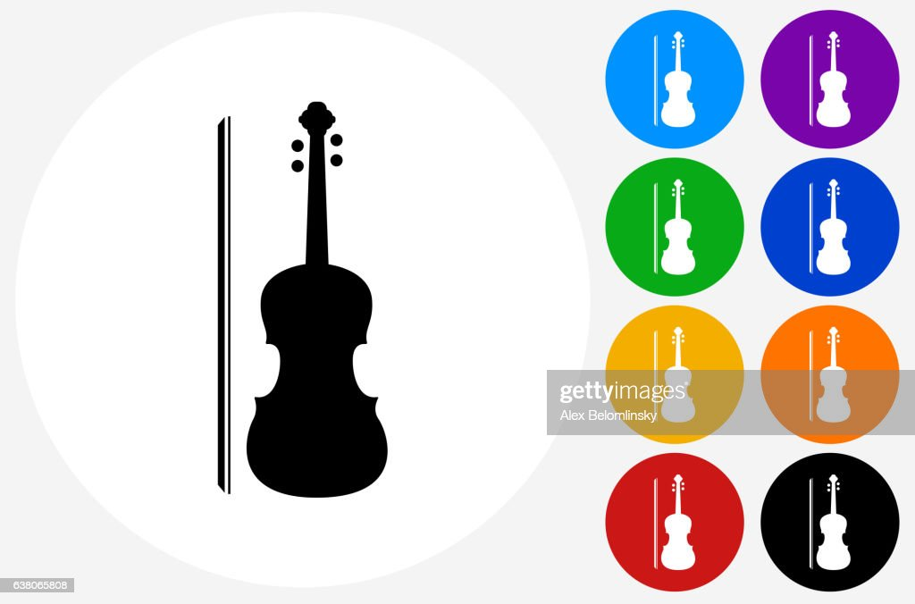 Violin Icon on Flat Color Circle Buttons