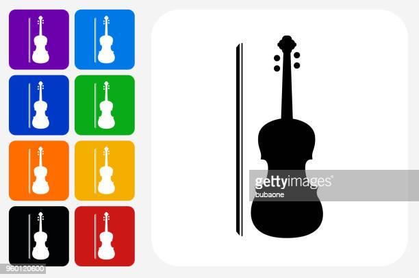 violin icon square button set - violin stock illustrations, clip art, cartoons, & icons