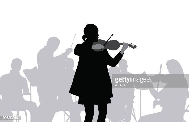 violon orchestra - classical stock illustrations
