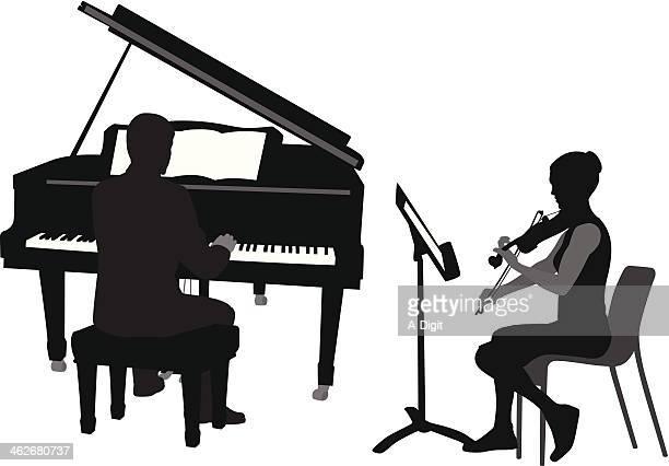 illustrations, cliparts, dessins animés et icônes de violinpiano - pupitre à musique