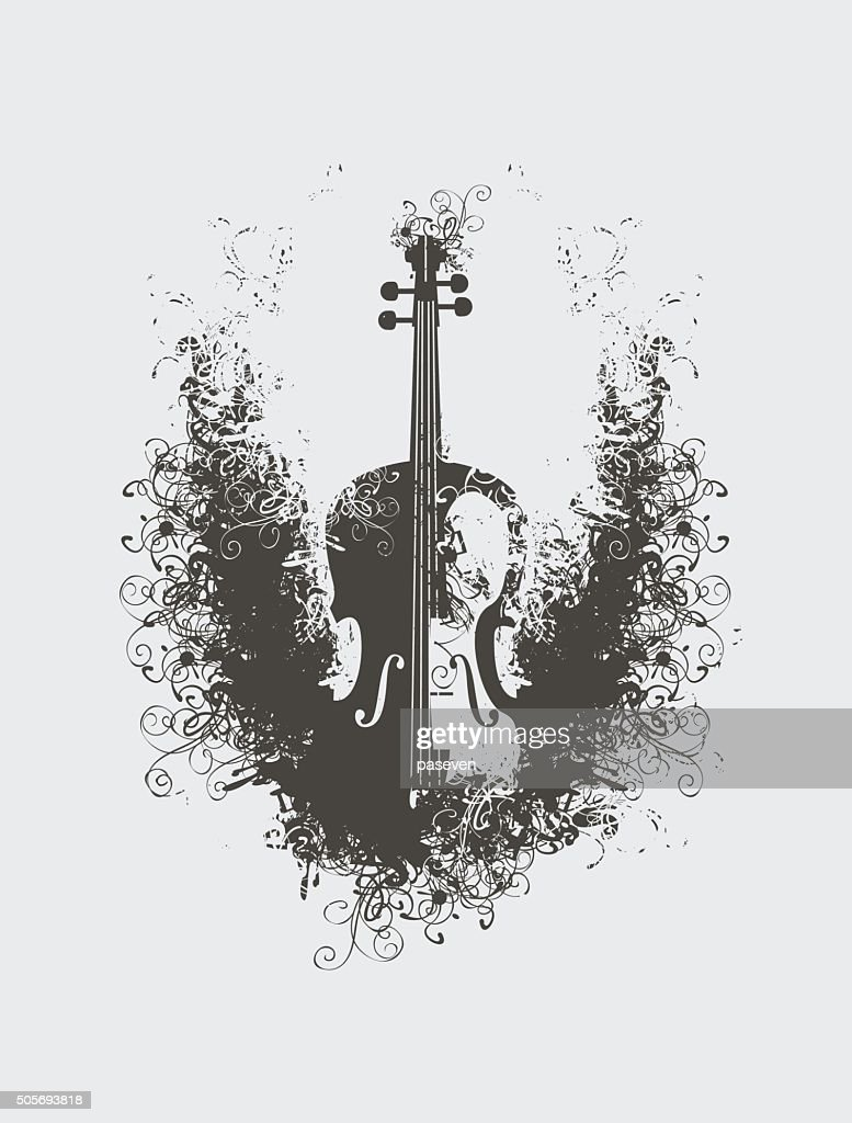 violin with floral patterns