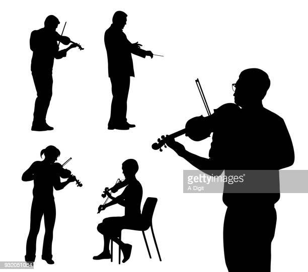 violinist variety - classical stock illustrations