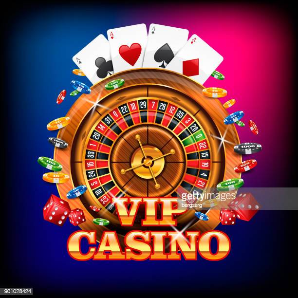 Vip Casino Banner with Roulette Wheel, Playing Cards and Falling Chips