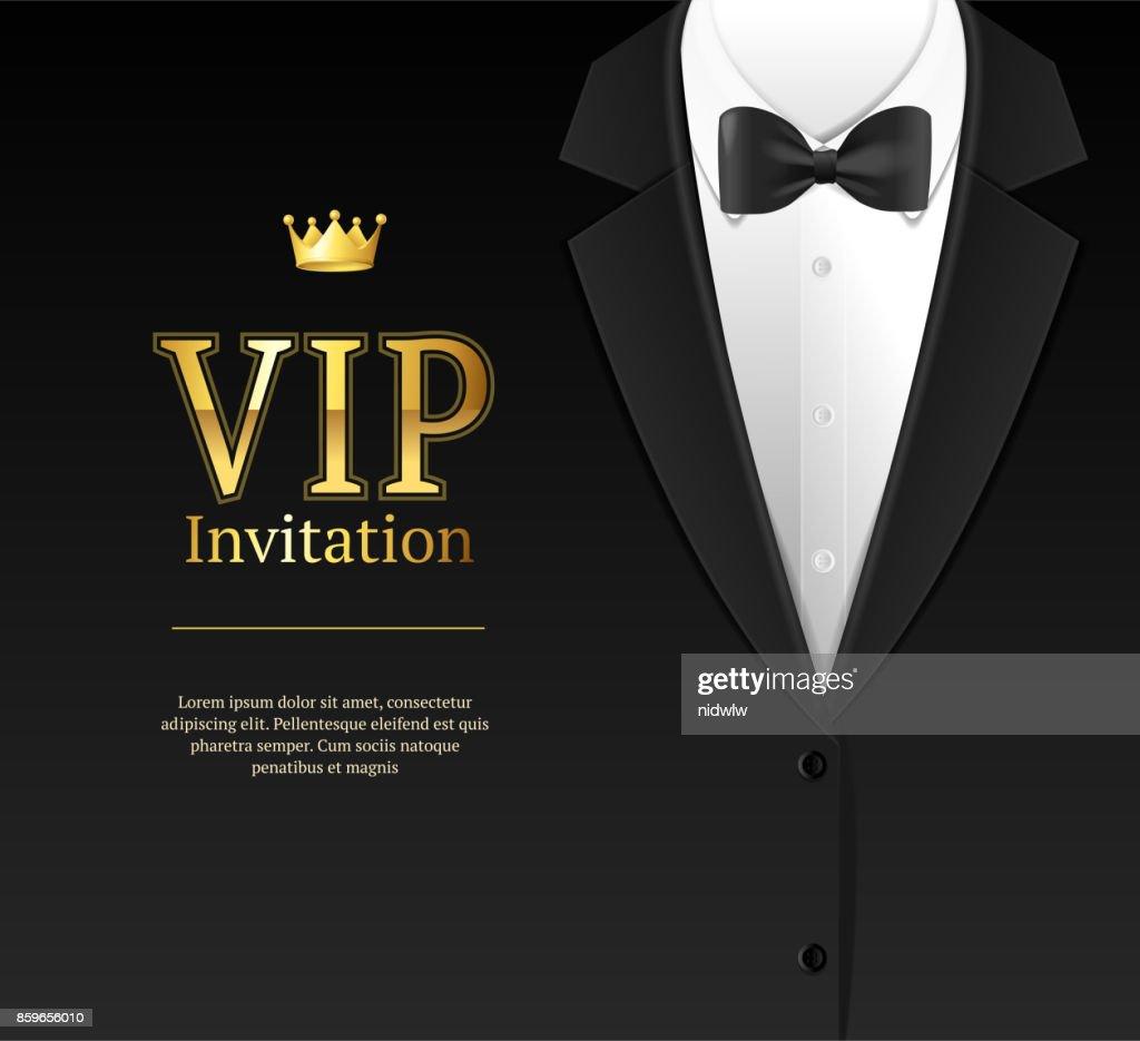 Vip Invitation with Bow Tie. Vector