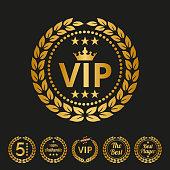 Vip label on black background