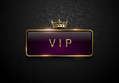 Vip royal purple label with golden frame and crown on black floral pattern background. Dark premium template. Vector illustration