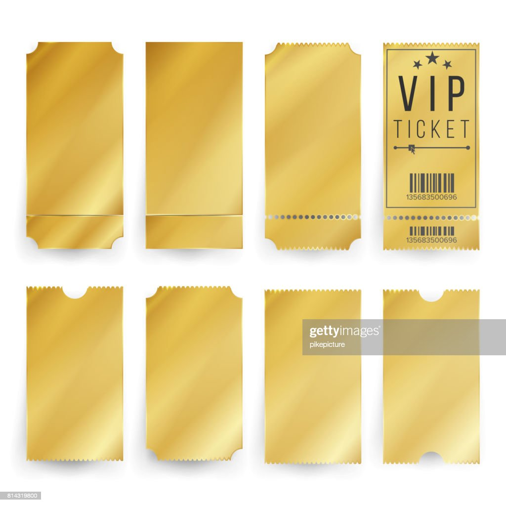 Vip Ticket Template Vector. Empty Golden Tickets And Coupons Blank. Isolated Illustration