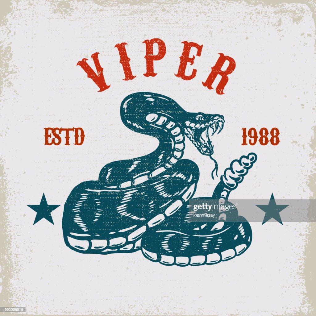 Viper snake illustration on grunge background. Design element for poster, card, t shirt, emblem.