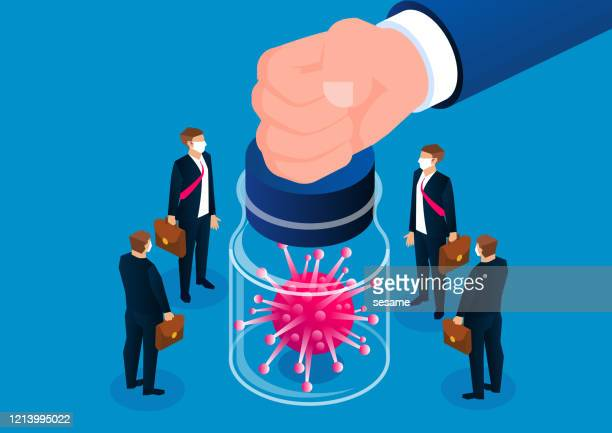 viral compulsory isolation policy, huge hands sealed new type of pneumonia virus in glass jars, and isolated from the crowd - defending stock illustrations