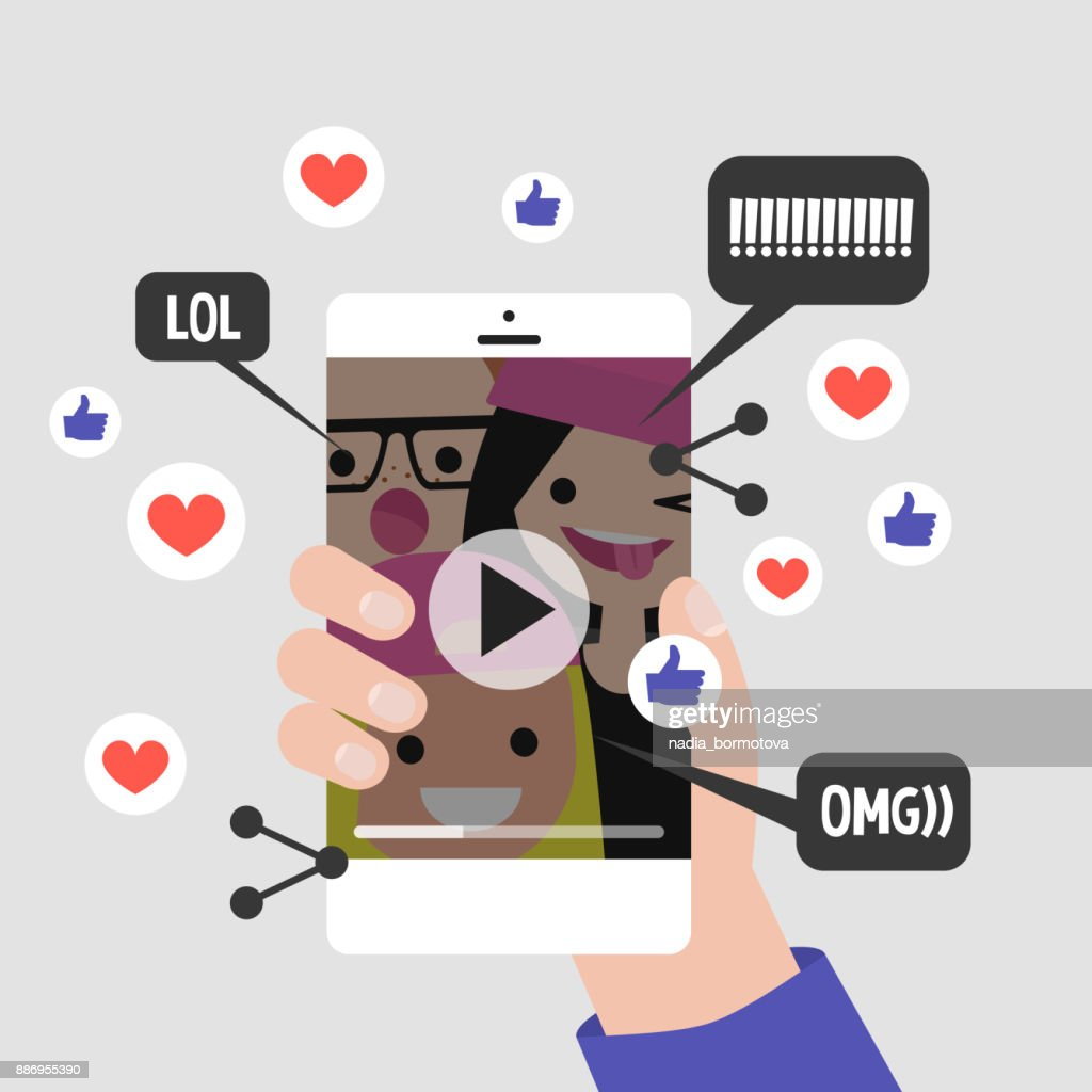 Viral content conceptual illustration. Likes, shares and comments popping up on the mobile screen. Vertical Video format for millennials. Flat editable vector, clip art