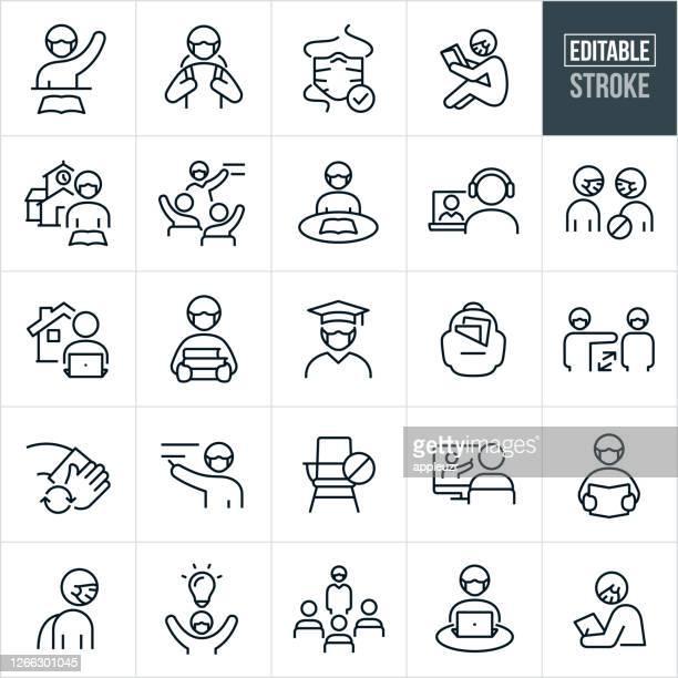 illustrations, cliparts, dessins animés et icônes de protection contre les maladies virales dans l'éducation icônes ligne mince - avc modifiable - établissement scolaire