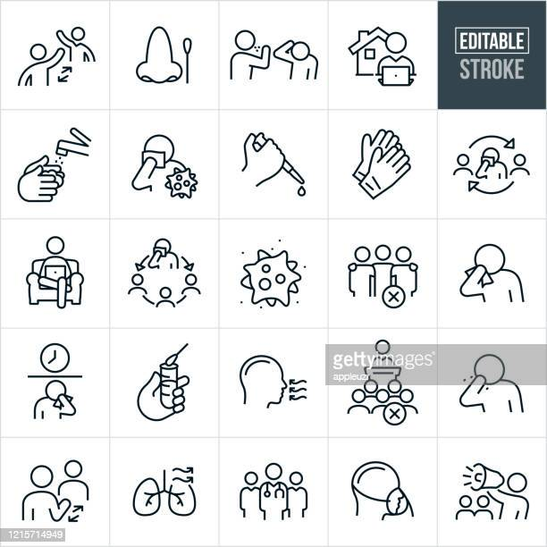 viral illness thin line icons - editable stroke - coronavirus stock illustrations