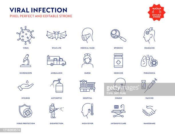 編集可能なストロークとピクセルパーフェクトとウイルス感染アイコンセット. - 咳をする点のイラスト素材/クリップアート素材/マンガ素材/アイコン素材