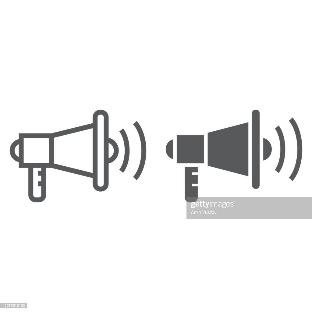 Viral marketing line and glyph icon, advertisement and media, megaphone sign, vector graphics, a linear pattern on a white background.