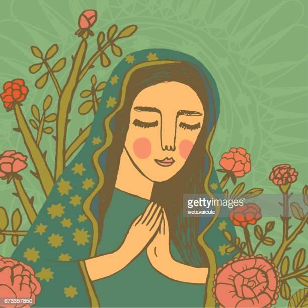jungfrau maria zu beten - corona sun stock-grafiken, -clipart, -cartoons und -symbole