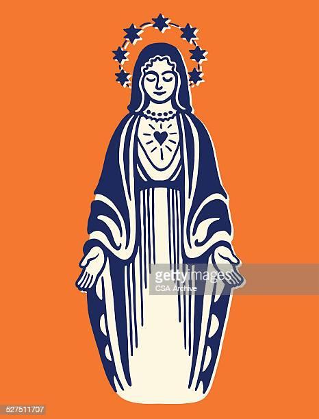 virgin mary - virgin mary stock illustrations