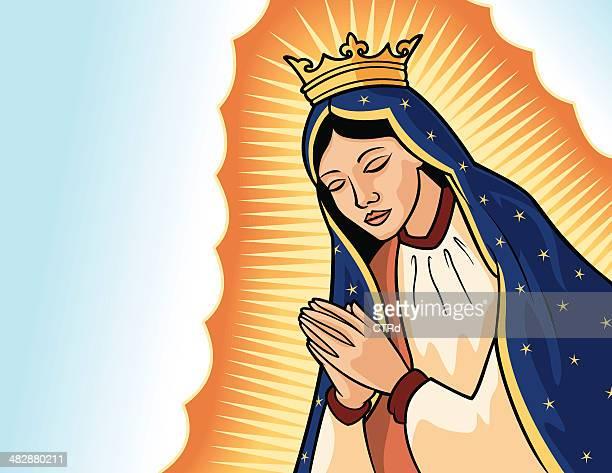 virgin of guadalupe - virgin mary stock illustrations