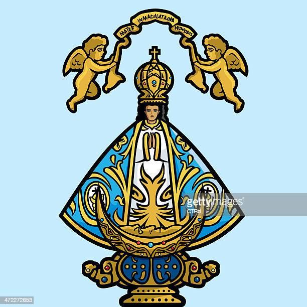 virgin of san juan de los lagos - virgin mary stock illustrations, clip art, cartoons, & icons