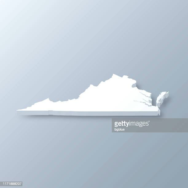 virginia 3d map on gray background - virginia us state stock illustrations