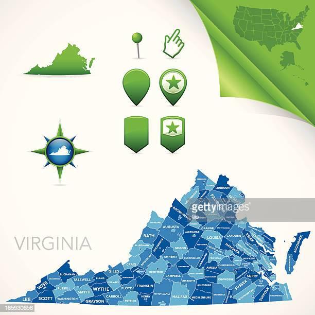 virginia county map - virginia stock illustrations