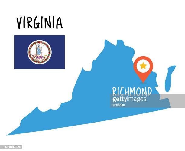 virginia map and flag - virginia us state stock illustrations
