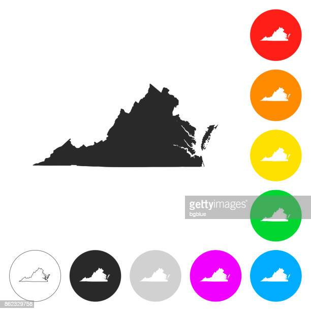 virginia map - flat icons on different color buttons - virginia stock illustrations, clip art, cartoons, & icons
