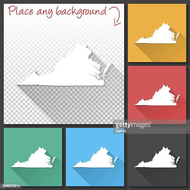 virginia map for design, long shadow, flat design - virginia stock illustrations, clip art, cartoons, & icons