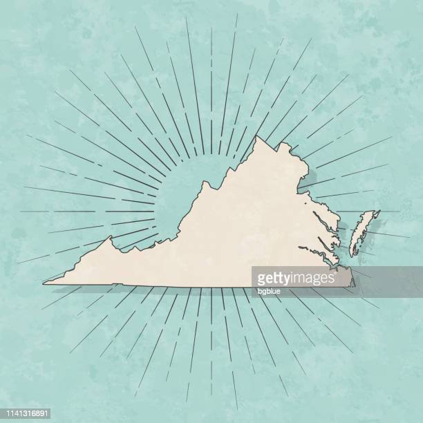 virginia map in retro vintage style - old textured paper - virginia stock illustrations