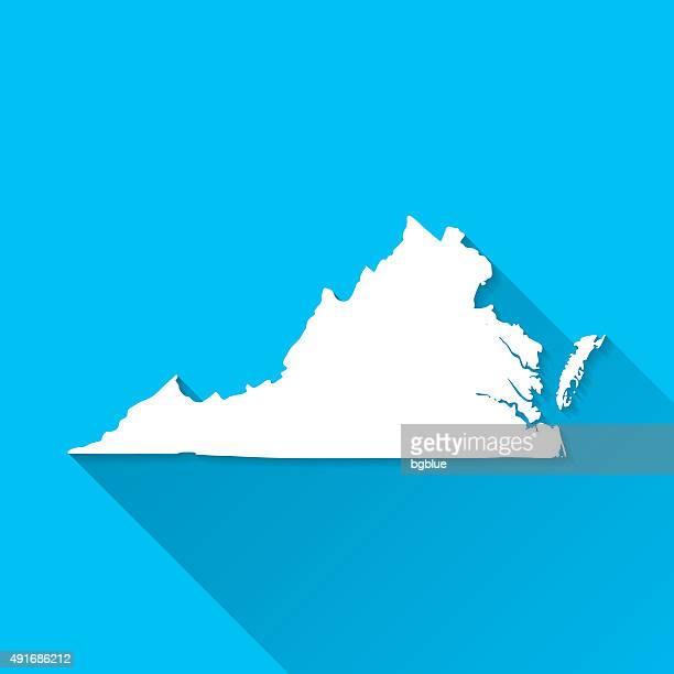 virginia map on blue background, long shadow, flat design - virginia stock illustrations, clip art, cartoons, & icons