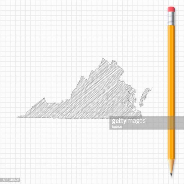 Virginia Karte Skizze mit Bleistift auf Raster Papier