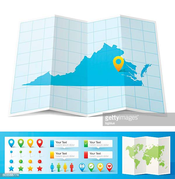 virginia map with location pins isolated on white background - virginia stock illustrations, clip art, cartoons, & icons