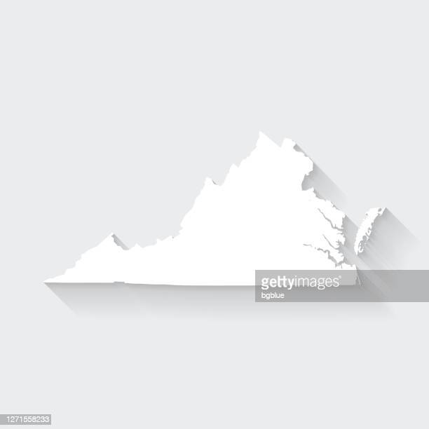 virginia map with long shadow on blank background - flat design - virginia us state stock illustrations