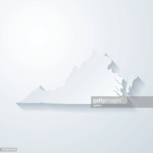virginia map with paper cut effect on blank background - virginia us state stock illustrations