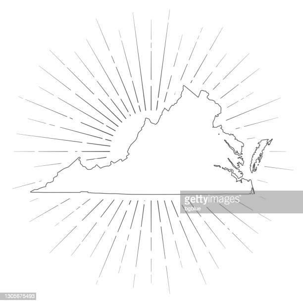 virginia map with sunbeams on white background - virginia us state stock illustrations
