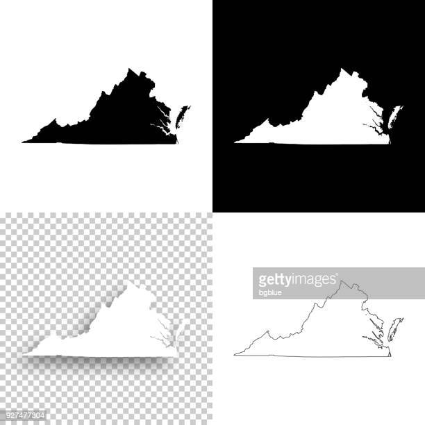 virginia maps for design - blank, white and black backgrounds - virginia us state stock illustrations