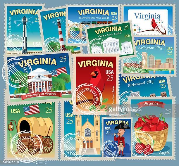 virginia stamp - virginia stock illustrations, clip art, cartoons, & icons