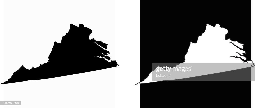Virginia Zustand schwarz / weiß einfache Karte : Stock-Illustration