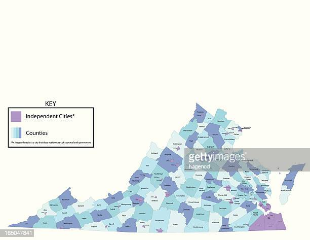virginia state - county map - virginia stock illustrations
