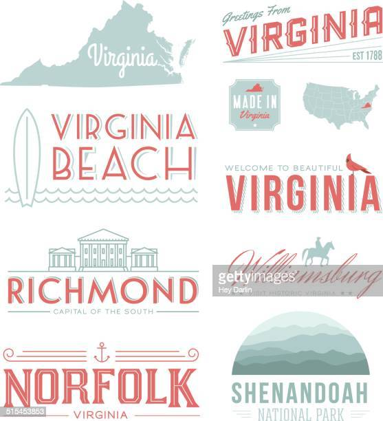 virginia typography - colonial style stock illustrations