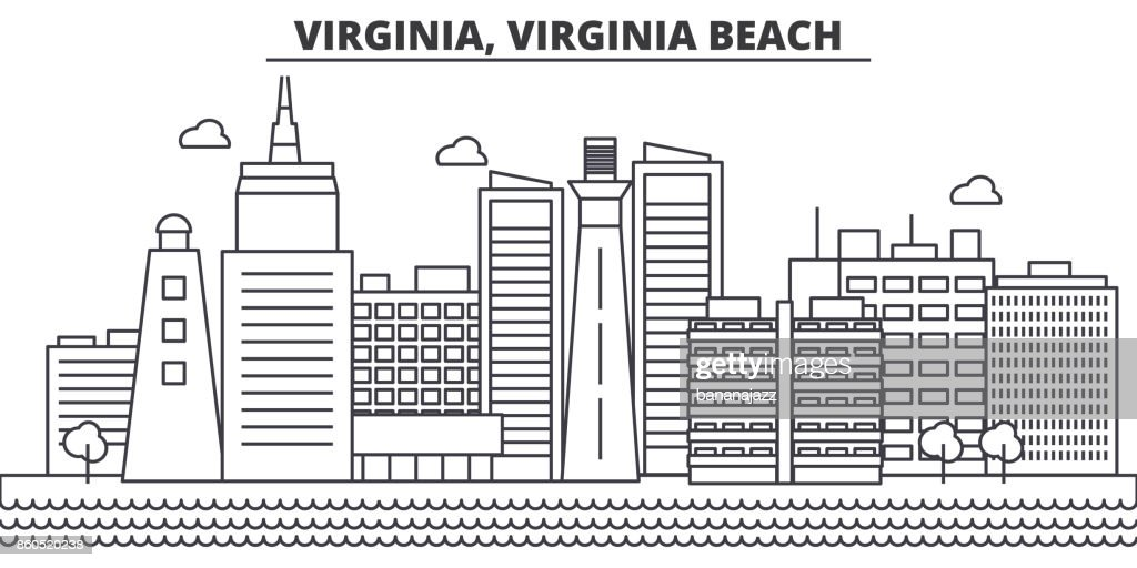 Virginia, Virginia Beach architecture line skyline illustration. Linear vector cityscape with famous landmarks, city sights, design icons. Landscape wtih editable strokes