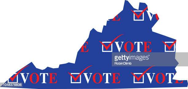 virginia vote map - virginia stock illustrations, clip art, cartoons, & icons