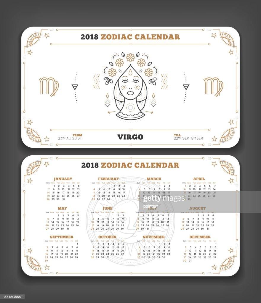 Zodiac Calendar June : Virgo year zodiac calendar pocket size horizontal layout