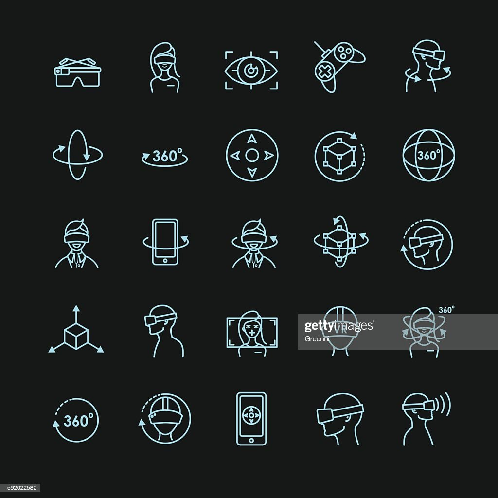 Virtual and augmented reality vector icon set for your design