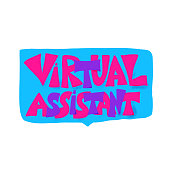 virtual assistant text with speech bubble