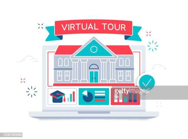 virtuelle campus tour - bildungseinrichtung stock-grafiken, -clipart, -cartoons und -symbole