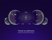 Virtual car dashboard concept. HUD vehicle interface with navigation mode. Vector illustration