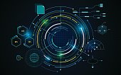 virtual circle screen tech futuristic pattern hud ui concept background