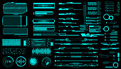 HUD Virtual Futuristic Elements Set Vector.