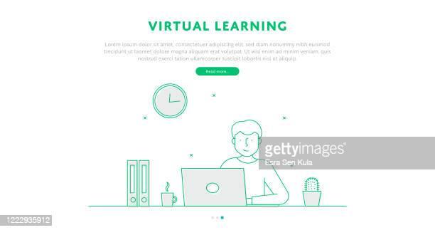 仮想学習 web ページの概念(編集可能な線のイラスト付き) - バーチャルイベント点のイラスト素材/クリップアート素材/マンガ素材/アイコン素材