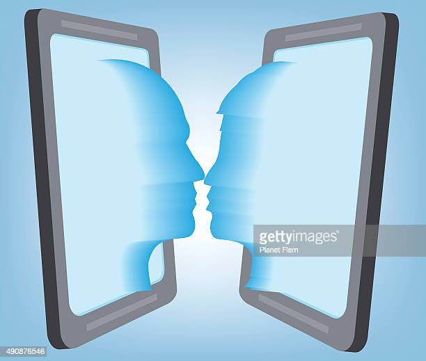 virtual lovers - kissing on the mouth stock illustrations, clip art, cartoons, & icons